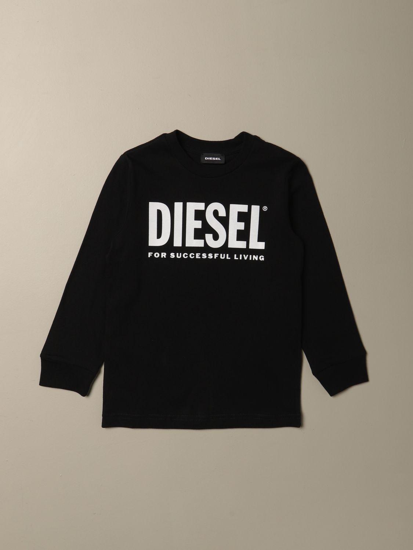 T-shirt Diesel: T-shirt Diesel a girocollo in cotone con logo grigio 1