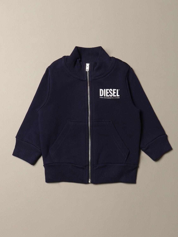 Maglia Diesel: Felpa Diesel in cotone con zip e logo blue 1