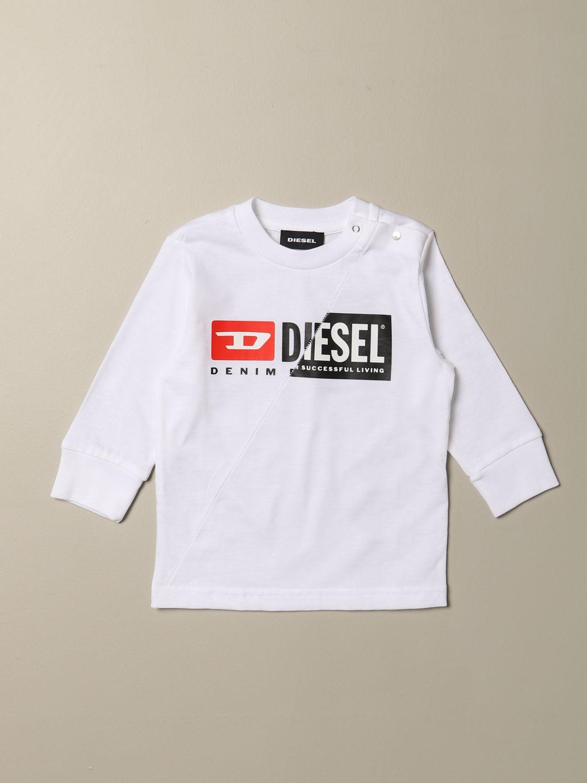 T-shirt Diesel: Maglia Diesel a girocollo in cotone con logo bianco 1