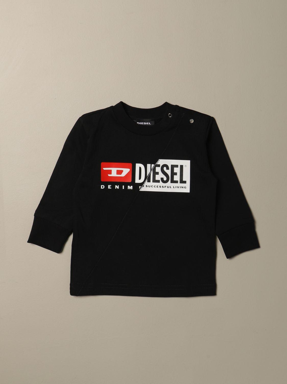 T-shirt Diesel: Maglia Diesel a girocollo in cotone con logo nero 1