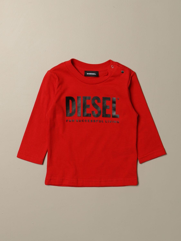 T-shirt Diesel: T-shirt Diesel a girocollo in cotone con logo rosso 1