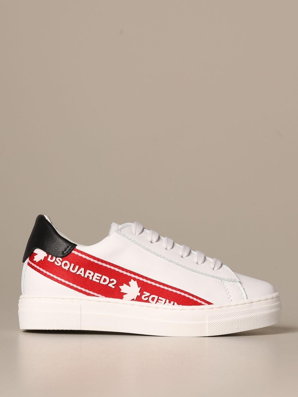 Scarpe Dsquared2: Sneakers Dsquared2 in pelle con banda logata bianco 1