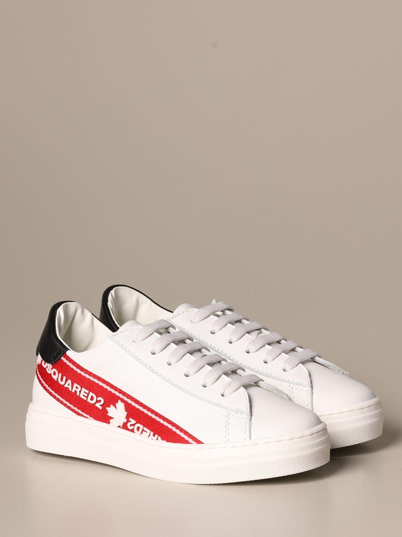 Scarpe Dsquared2: Sneakers Dsquared2 in pelle con banda logata bianco 2