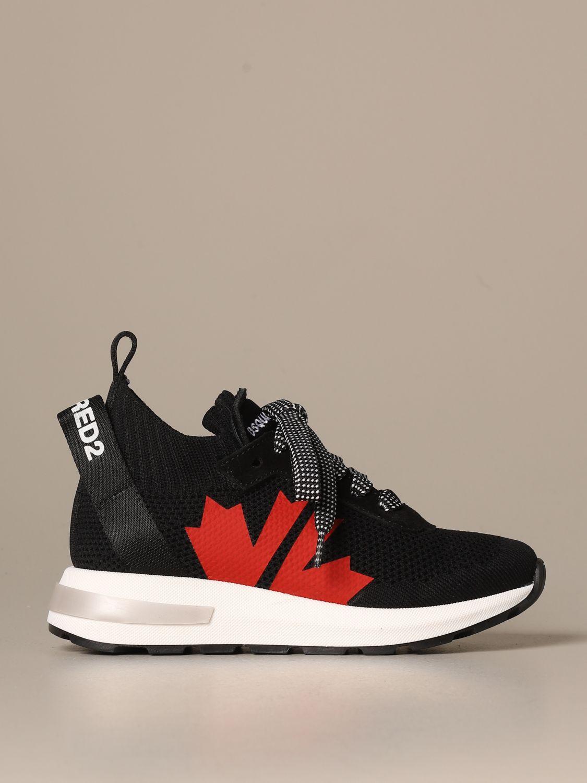 Scarpe Dsquared2: Sneakers Dsquared2 in tessuto tecnico con logo foglia d'acero nero 1