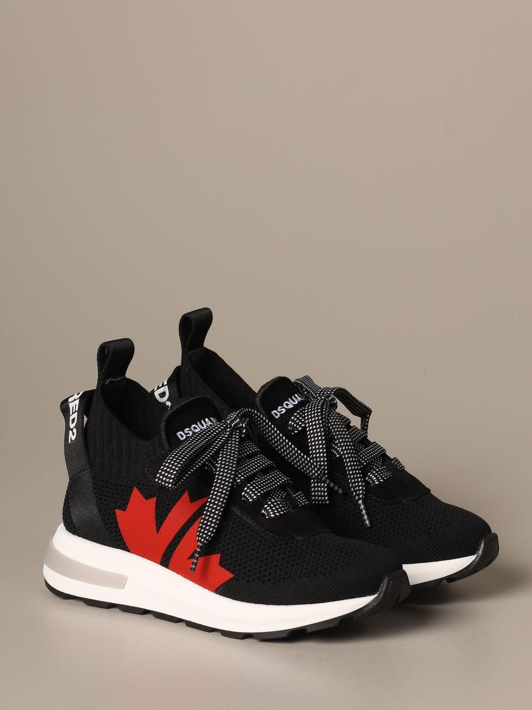 Scarpe Dsquared2: Sneakers Dsquared2 in tessuto tecnico con logo foglia d'acero nero 2