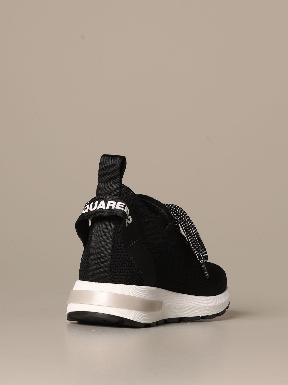 Scarpe Dsquared2: Sneakers Dsquared2 in tessuto tecnico con logo foglia d'acero nero 3