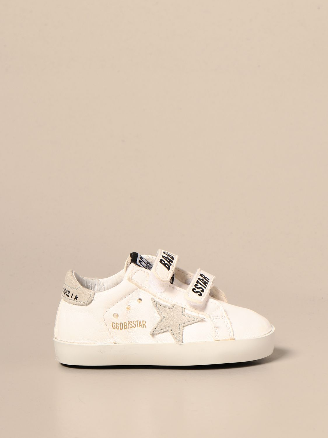 Shoes Golden Goose: Golden Goose Baby school sneakers in leather and suede white 1
