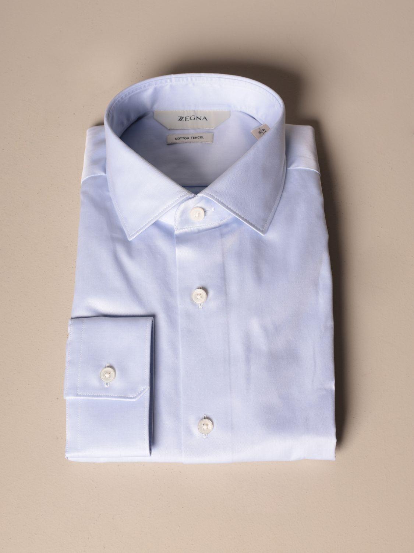 Shirt Z Zegna: French twill collar gnawed blue 1