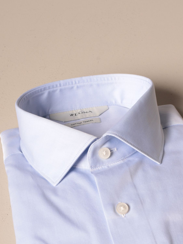 Shirt Z Zegna: French twill collar gnawed blue 2