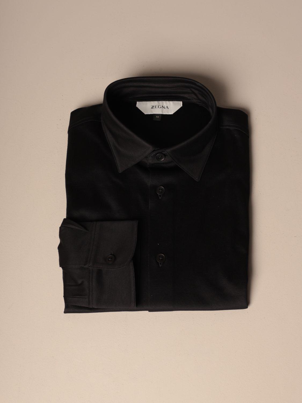 Camicia Z Zegna: Camicia Interlock Z Zegna in cotone nero 1