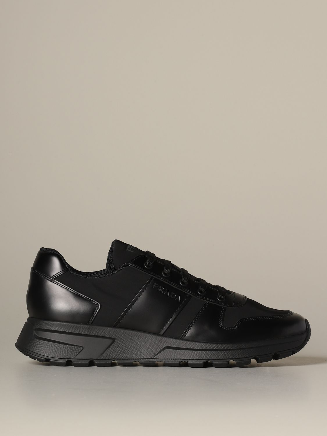 prada leather and fabric sneakers