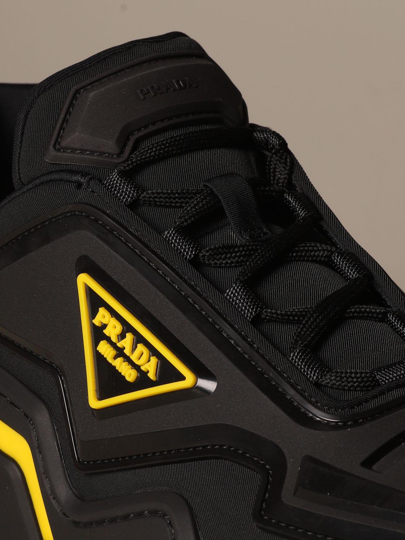 运动鞋 Prada: Prada 三角形Logo装饰弹性科技面料运动鞋 黑色 4