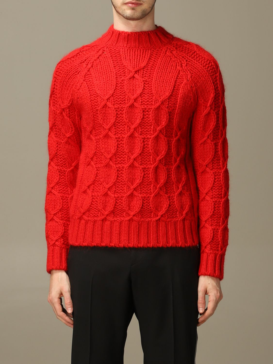 Sweater Saint Laurent: Saint Laurent cable sweater in Mohair wool red 1