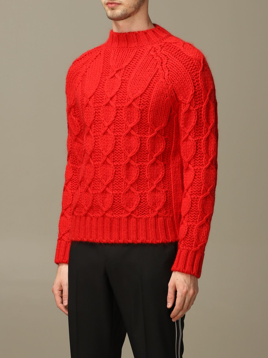Sweater Saint Laurent: Saint Laurent cable sweater in Mohair wool red 3