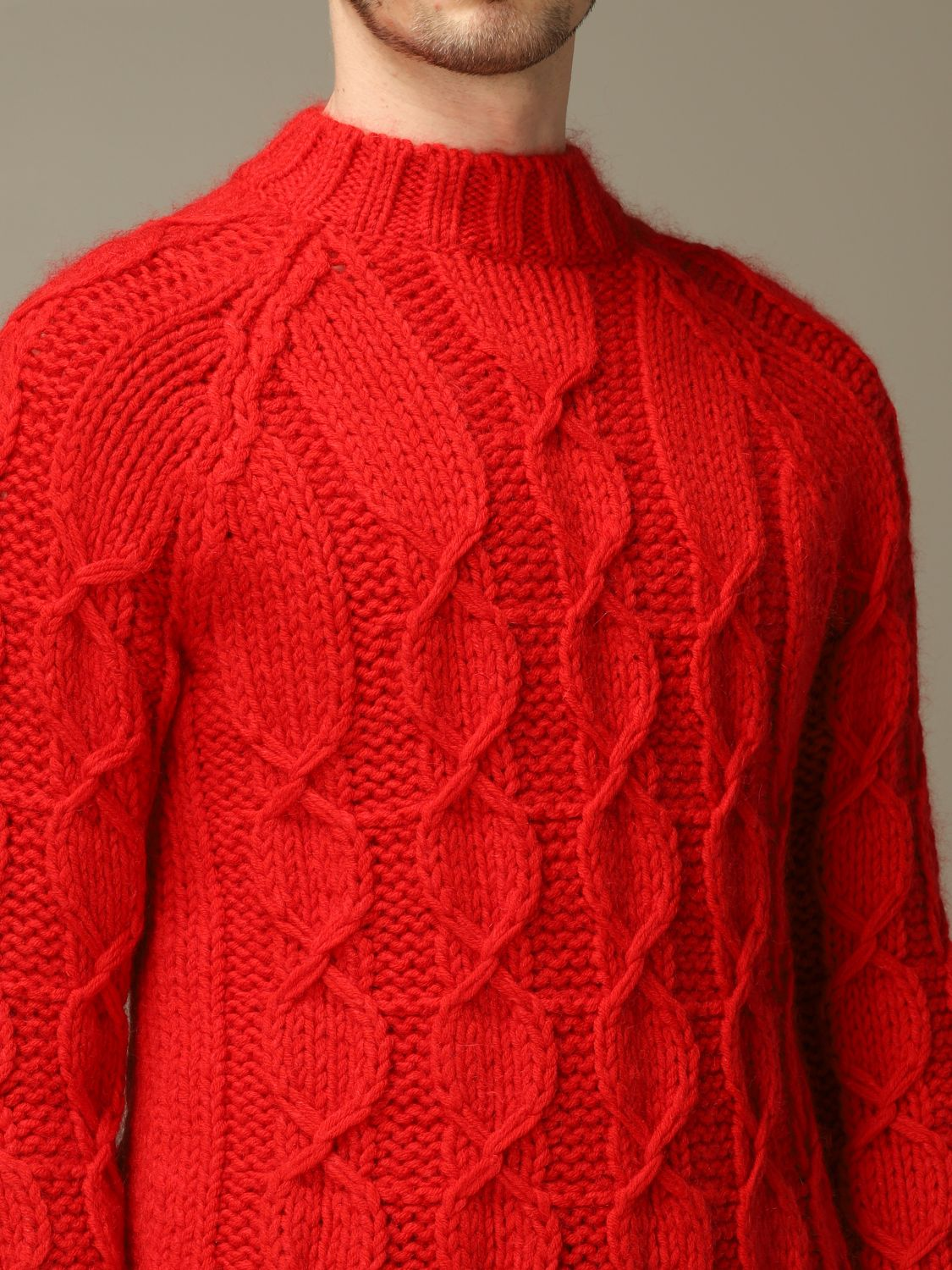 Sweater Saint Laurent: Saint Laurent cable sweater in Mohair wool red 4