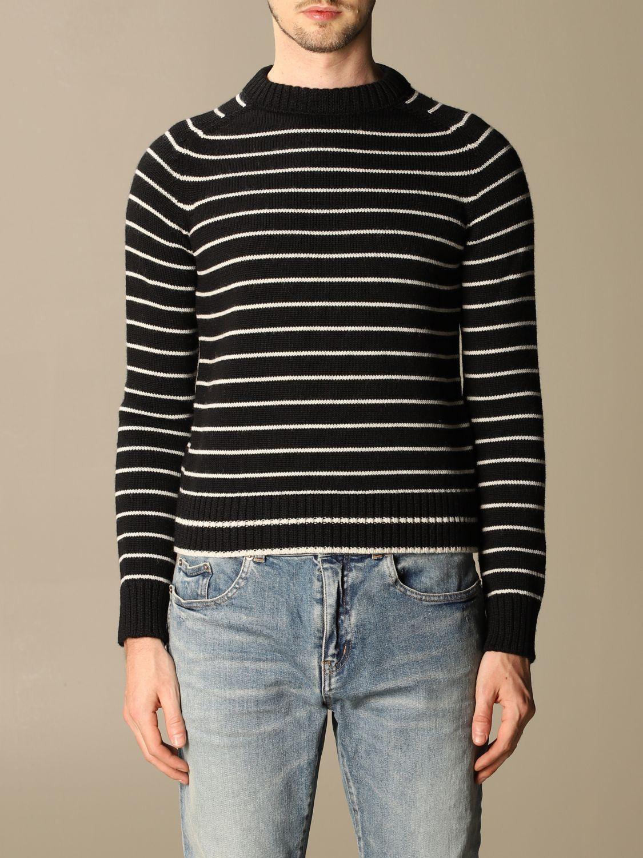 Pull Saint Laurent: Pullover Saint Laurent en laine vierge rayée noir 1