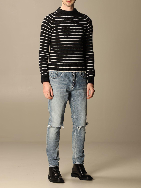 Pull Saint Laurent: Pullover Saint Laurent en laine vierge rayée noir 2