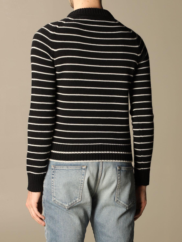 Pull Saint Laurent: Pullover Saint Laurent en laine vierge rayée noir 3
