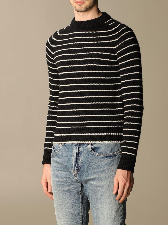 Pull Saint Laurent: Pullover Saint Laurent en laine vierge rayée noir 4
