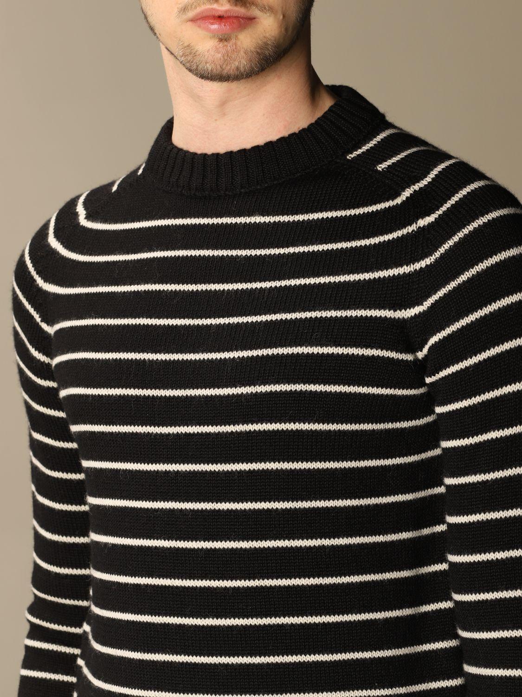 Pull Saint Laurent: Pullover Saint Laurent en laine vierge rayée noir 5