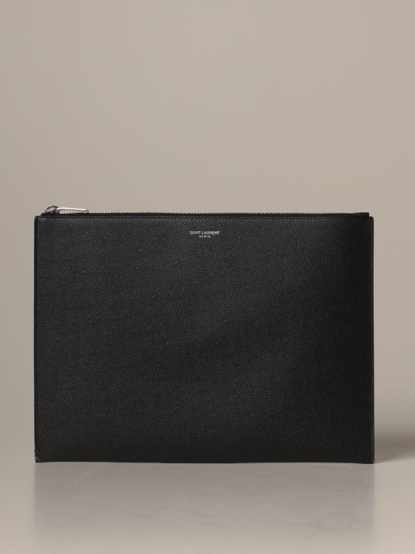 Briefcase Saint Laurent: Saint Laurent clutch bag in grain de poudre leather black 1