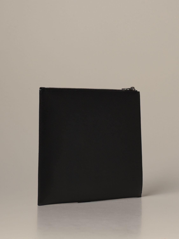 Briefcase Saint Laurent: Saint Laurent clutch bag in grain de poudre leather black 3