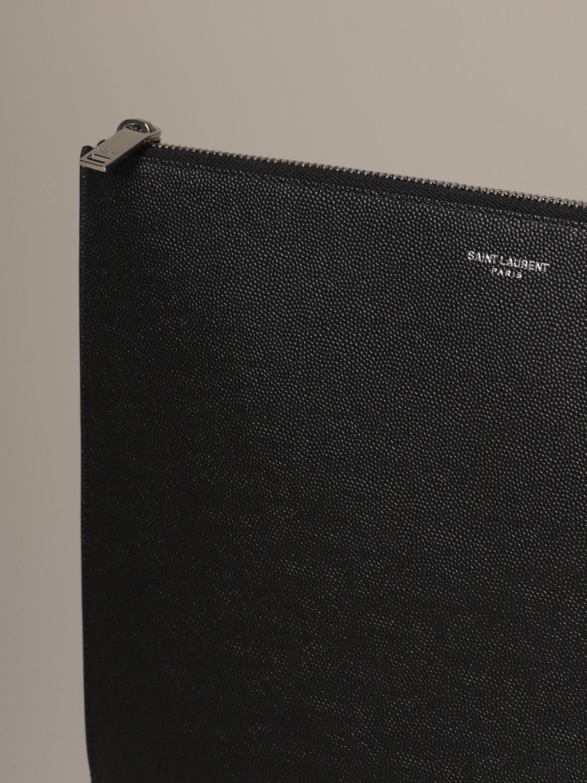 Briefcase Saint Laurent: Saint Laurent clutch bag in grain de poudre leather black 4