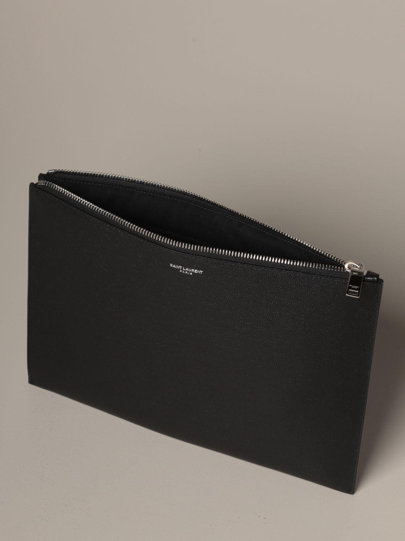 Briefcase Saint Laurent: Saint Laurent clutch bag in grain de poudre leather black 5