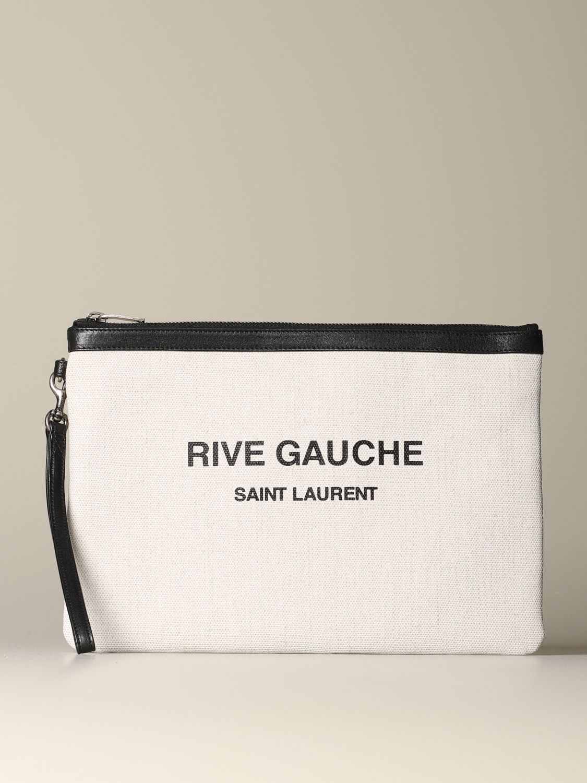 Briefcase Saint Laurent: Saint Laurent clutch in canvas and leather white 1