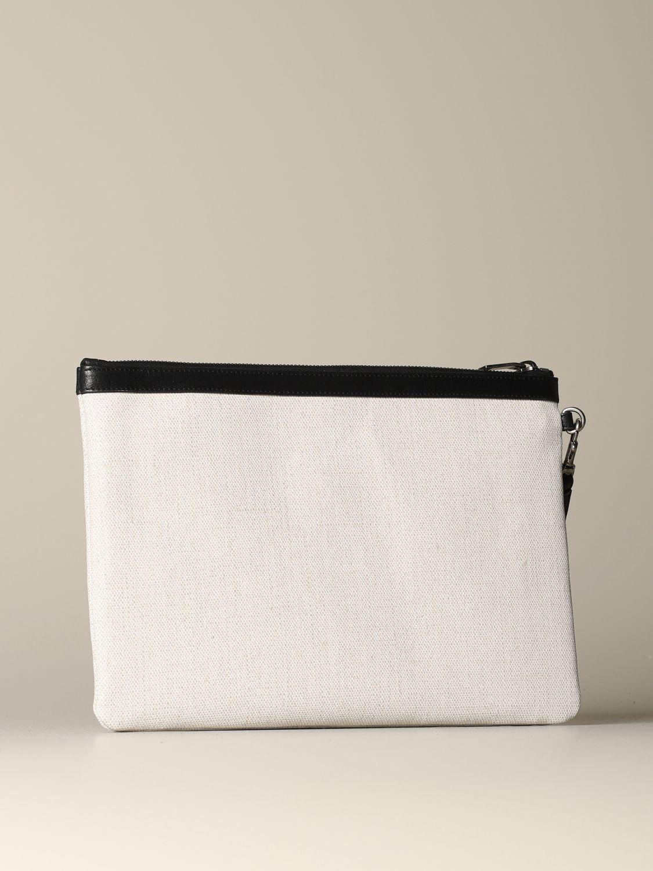 Briefcase Saint Laurent: Saint Laurent clutch in canvas and leather white 3