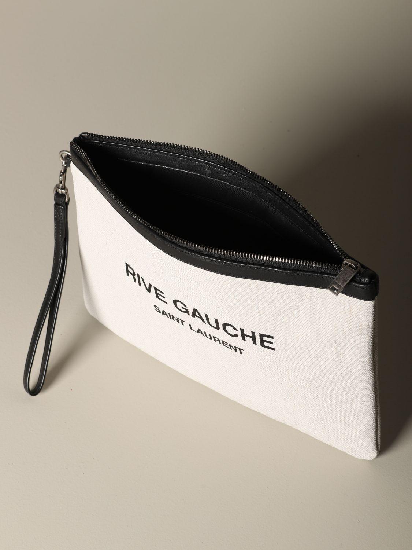 Briefcase Saint Laurent: Saint Laurent clutch in canvas and leather white 5