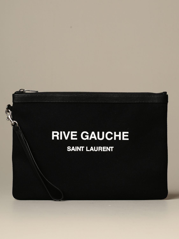 Briefcase Saint Laurent: Clutch bag Rive Gauche Saint Laurent in canvas black 1