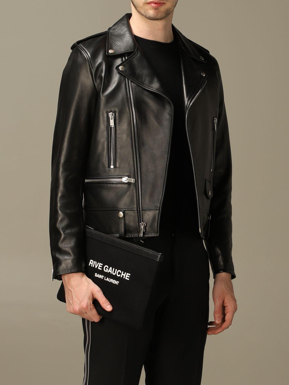 Briefcase Saint Laurent: Clutch bag Rive Gauche Saint Laurent in canvas black 2
