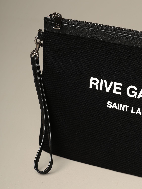 Briefcase Saint Laurent: Clutch bag Rive Gauche Saint Laurent in canvas black 4