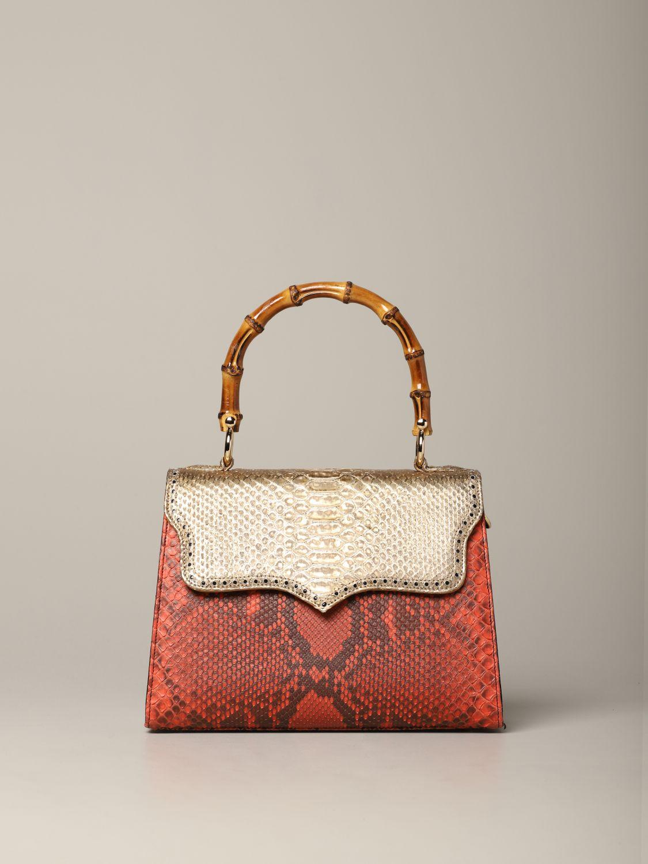 Sac porté main Tari' Rural Design: Sac Piccola Rosso Oro Tarì Rural Design en cuir de python rouge 1