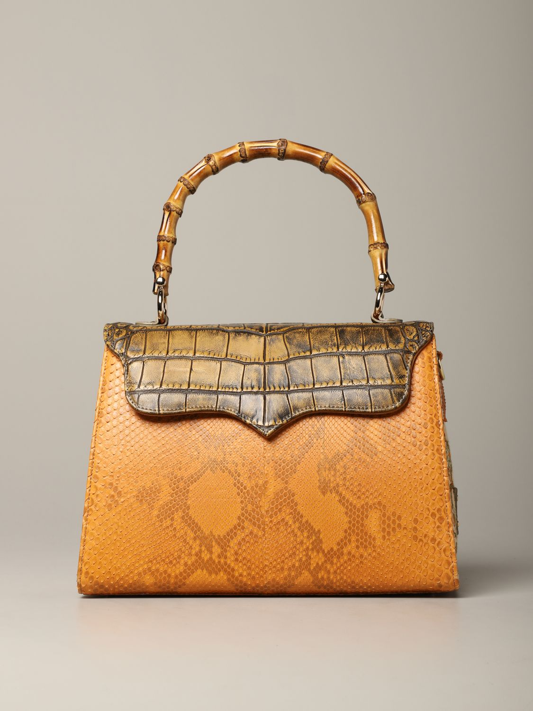 Sac porté main Tari' Rural Design: Sac Grande Arancio Tarì Rural Design en cuir de crocodile orange 1