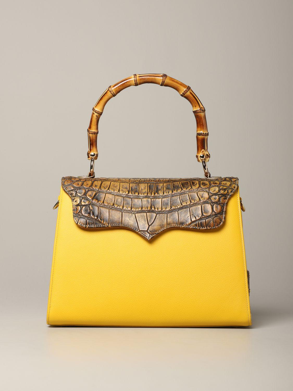 Sac porté main Tari' Rural Design: Sac Grande Giallo Tarì Rural Design en cuir de crocodile jaune 1