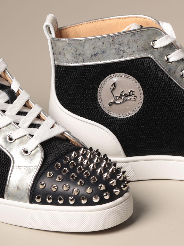 Sneakers Christian Louboutin: Lou spikes Christian Louboutin sneakers in leather and mesh with studs black 4