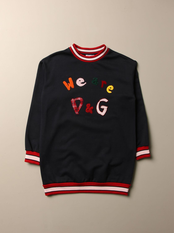 Abito Dolce & Gabbana: Felpa Dolce & Gabbana con logo we are D&G blue 1