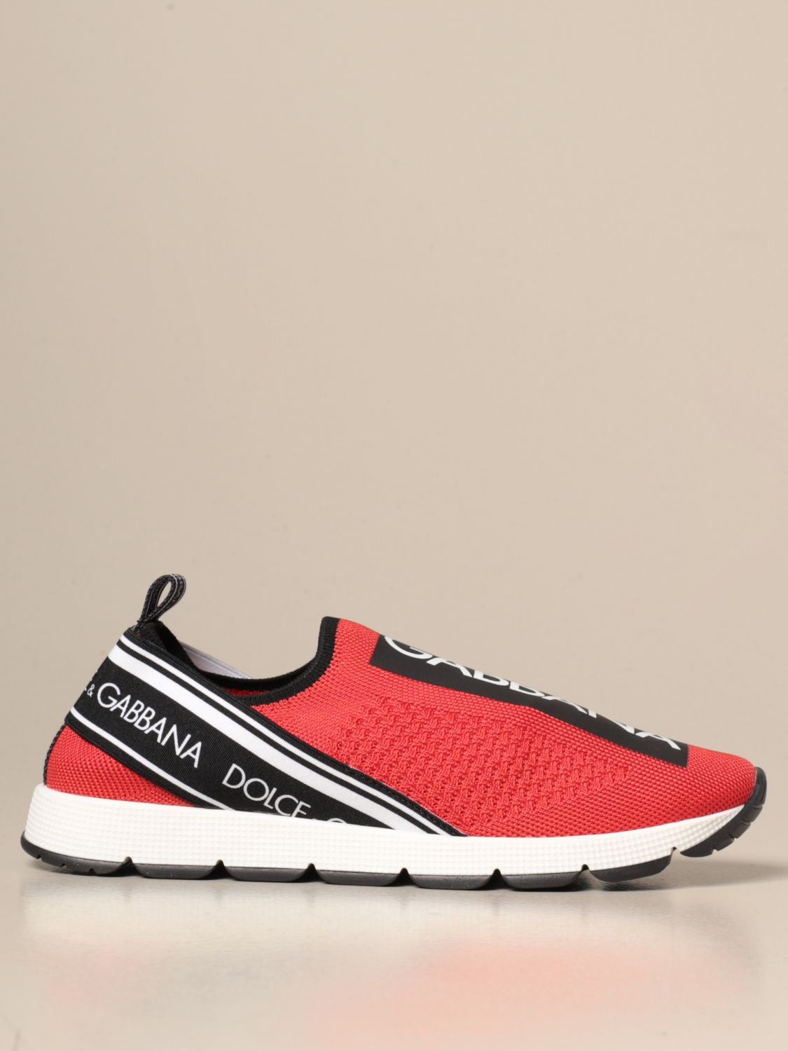 Shoes Dolce & Gabbana: Dolce & Gabbana slip on sneakers with logo red 1