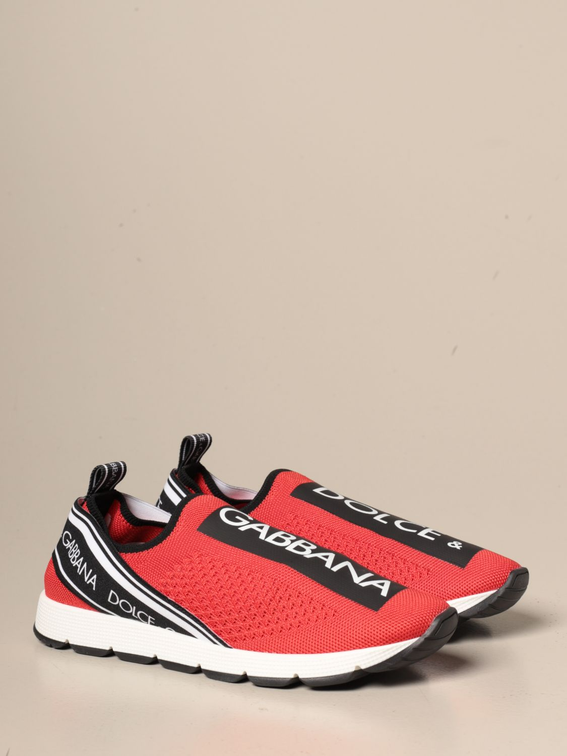 Shoes Dolce & Gabbana: Dolce & Gabbana slip on sneakers with logo red 2