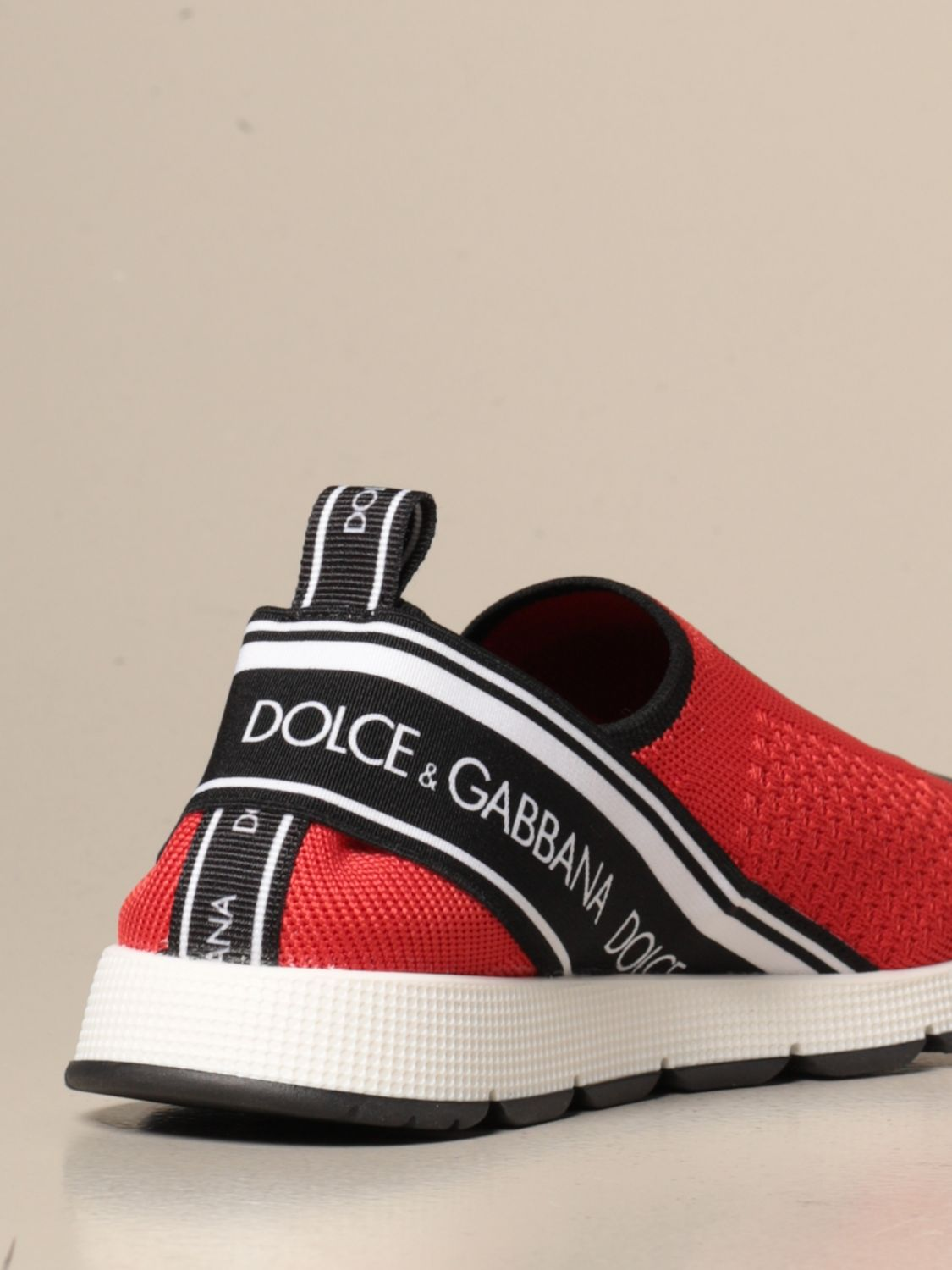 Shoes Dolce & Gabbana: Dolce & Gabbana slip on sneakers with logo red 3