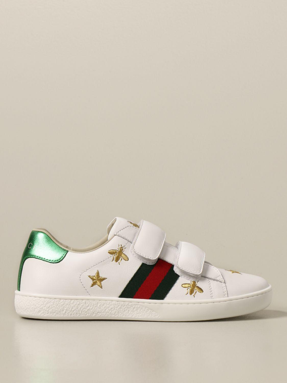 Scarpe Gucci: New ice sneakers pelle velcro con web api e stelle bianco 1