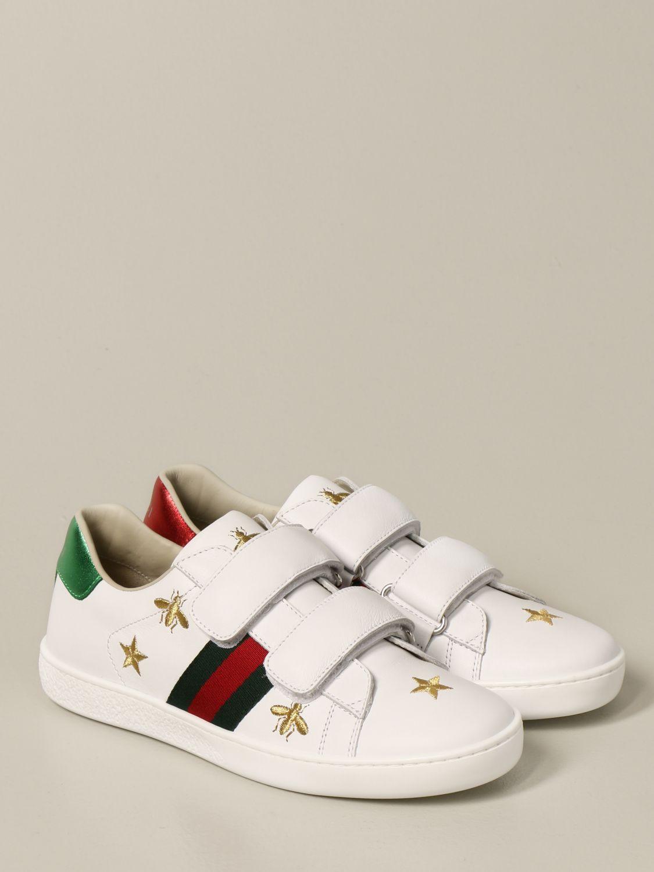 Scarpe Gucci: New ice sneakers pelle velcro con web api e stelle bianco 2