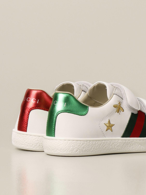 Scarpe Gucci: New ice sneakers pelle velcro con web api e stelle bianco 3