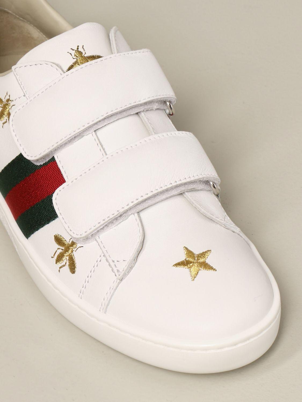 Scarpe Gucci: New ice sneakers pelle velcro con web api e stelle bianco 4