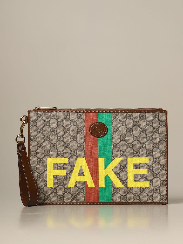 Gucci Gg Supreme Clutch Bag With Fake Print Briefcase Gucci Men Beige Briefcase Gucci 636171 2gcag Giglio En