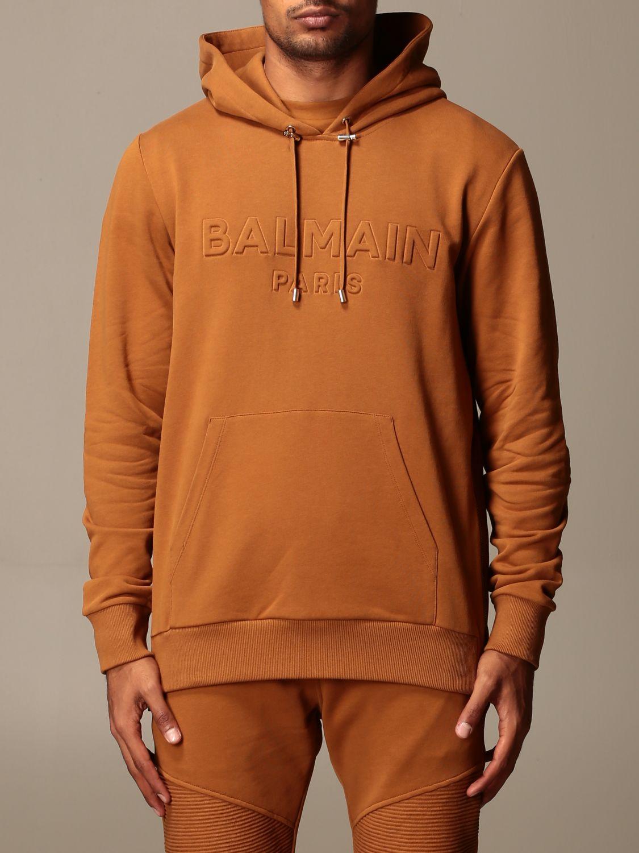 Felpa Balmain: Felpa Balmain con cappuccio e logo in rilievo cammello 1