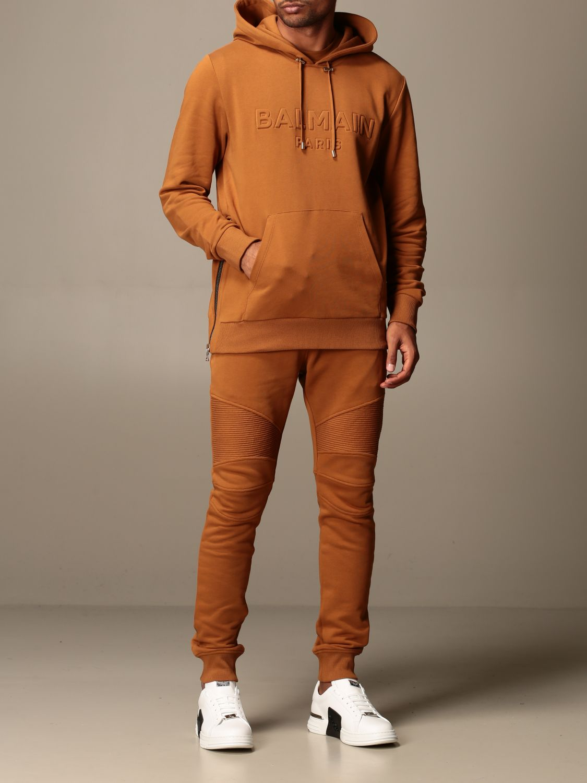 Felpa Balmain: Felpa Balmain con cappuccio e logo in rilievo cammello 2