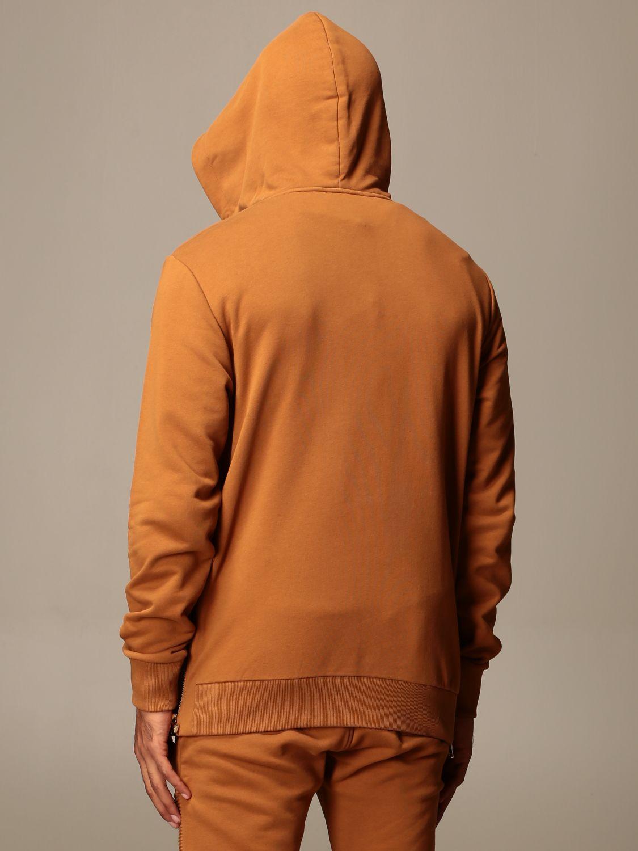 Felpa Balmain: Felpa Balmain con cappuccio e logo in rilievo cammello 3